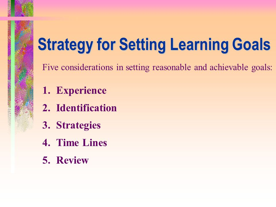 Strategy for Setting Learning Goals