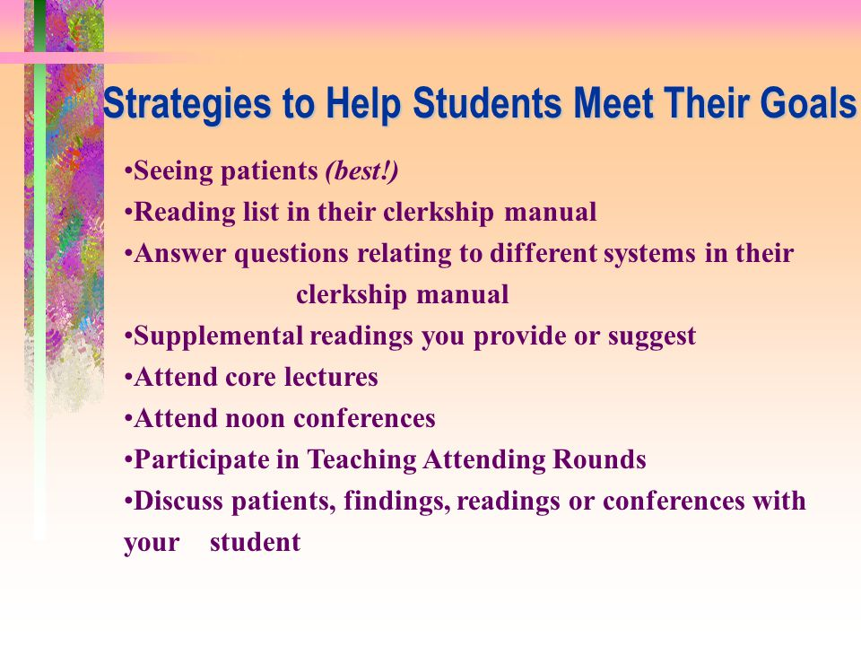 Strategies to Help Students Meet Their Goals