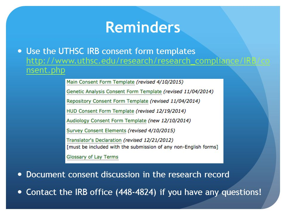 Uthsc institutional review board irb ppt video online download reminders use the uthsc irb consent form templates httputhsc pronofoot35fo Choice Image