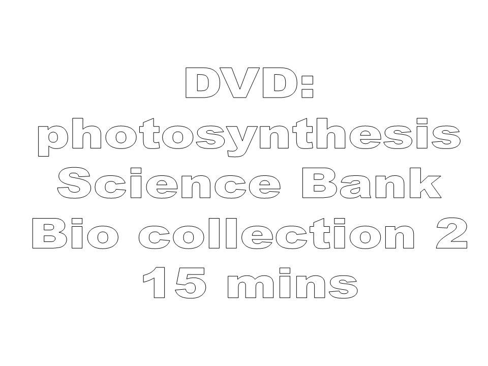 DVD: photosynthesis Science Bank Bio collection 2 15 mins