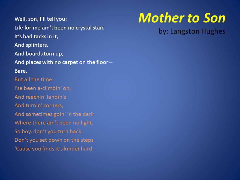 an analysis of langston hughes folktale mother to son Mother to son essay examples  an analysis of langston hughes's poem mother to son 344 words 1 page never waver in the face of challenges in mother to son, a .