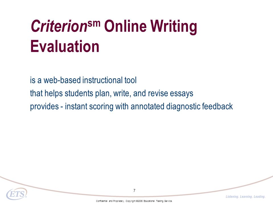 Online writing evaluation tool