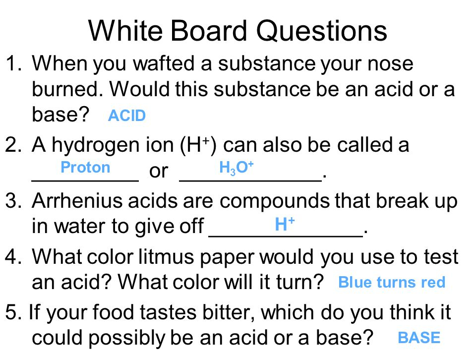 White Board Questions When you wafted a substance your nose burned. Would this substance be an acid or a base