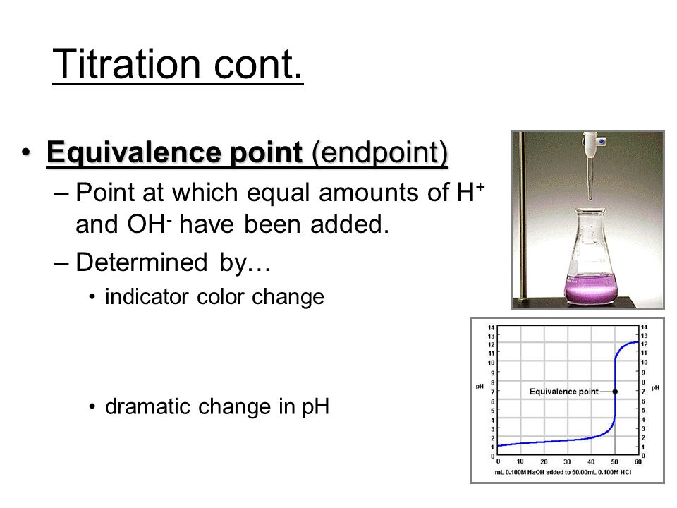 Titration cont. Equivalence point (endpoint)