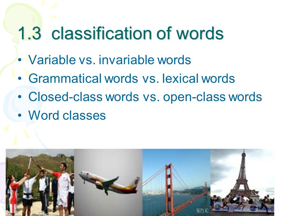 1.3 classification of words