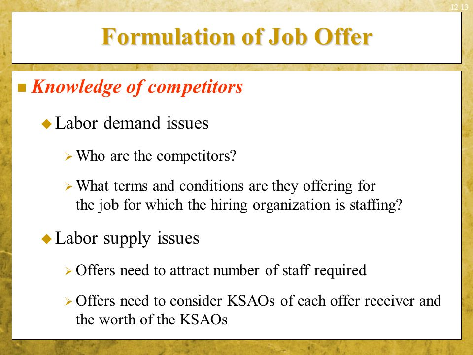 Formulation of Job Offer