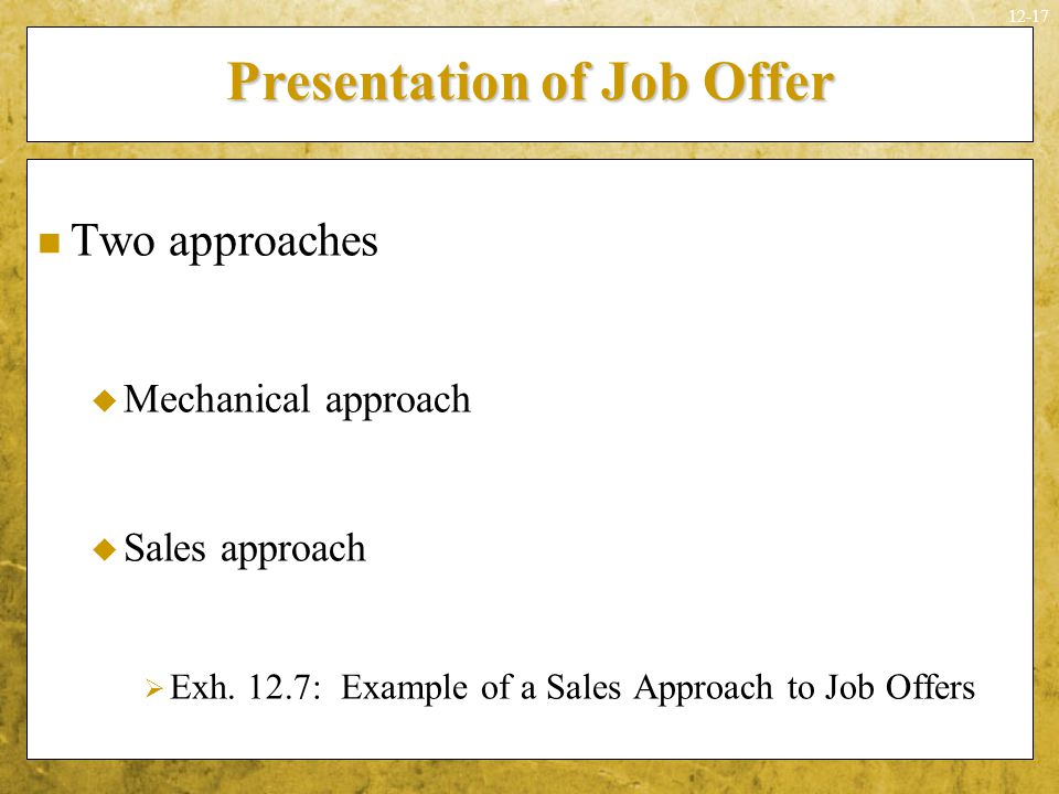Presentation of Job Offer
