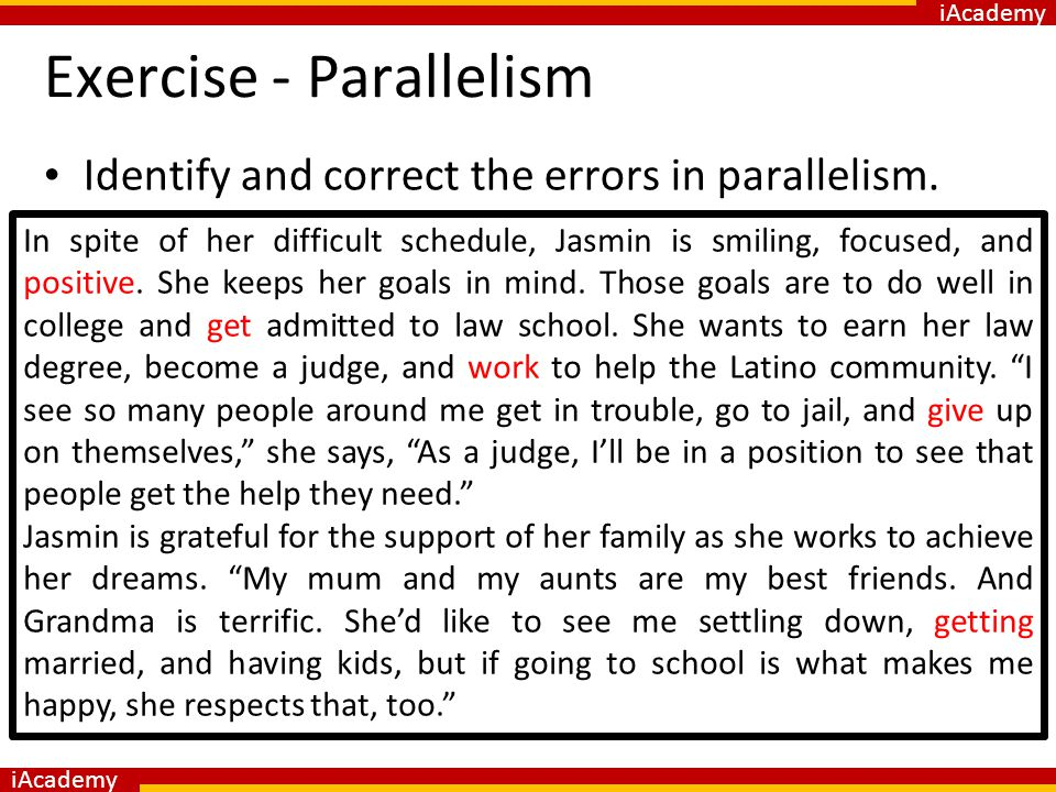 parallelism in writing exercises Parallel sentence elements in grammar are just like parallel lines in geometry: they face the same direction and never meet more precisely, in grammar, it's.