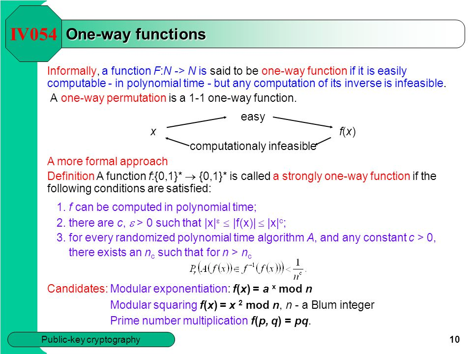 IV054 One-way functions.