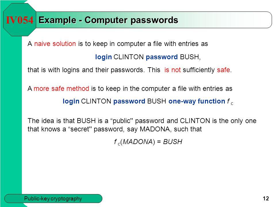Example - Computer passwords