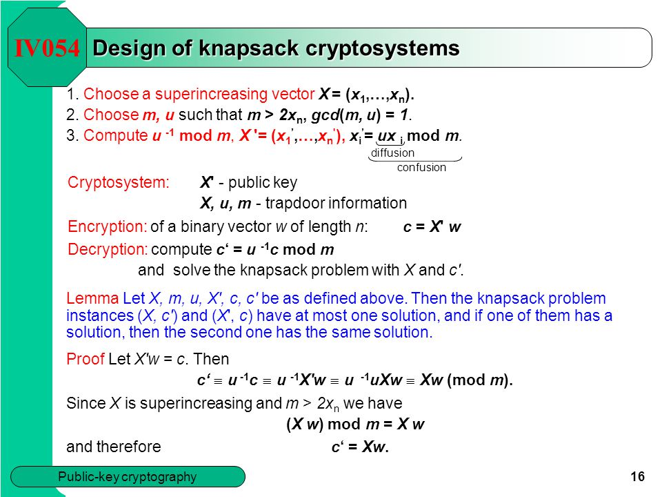 Design of knapsack cryptosystems