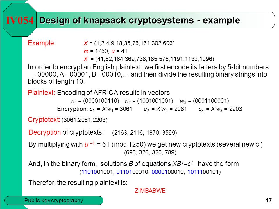 Design of knapsack cryptosystems - example