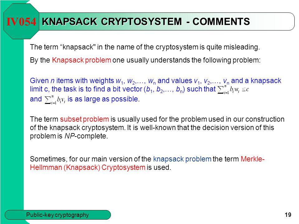 KNAPSACK CRYPTOSYSTEM - COMMENTS
