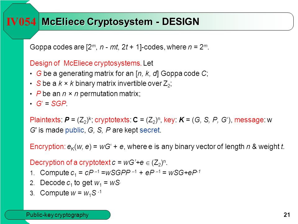 Mceliece cryptosystem implementation process