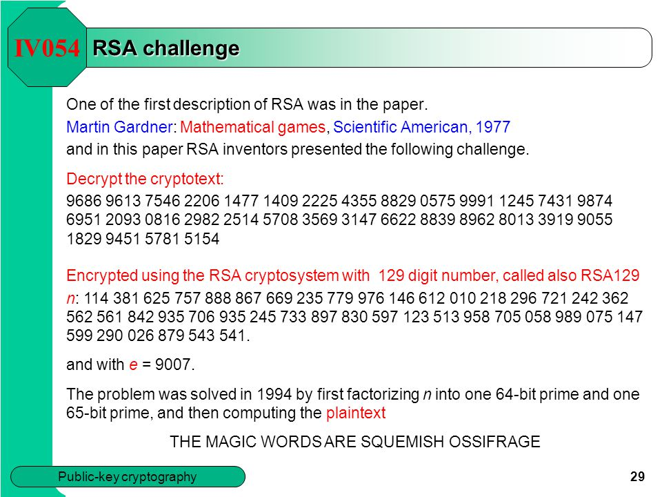 IV054 RSA challenge. One of the first description of RSA was in the paper. Martin Gardner: Mathematical games, Scientific American, 1977.