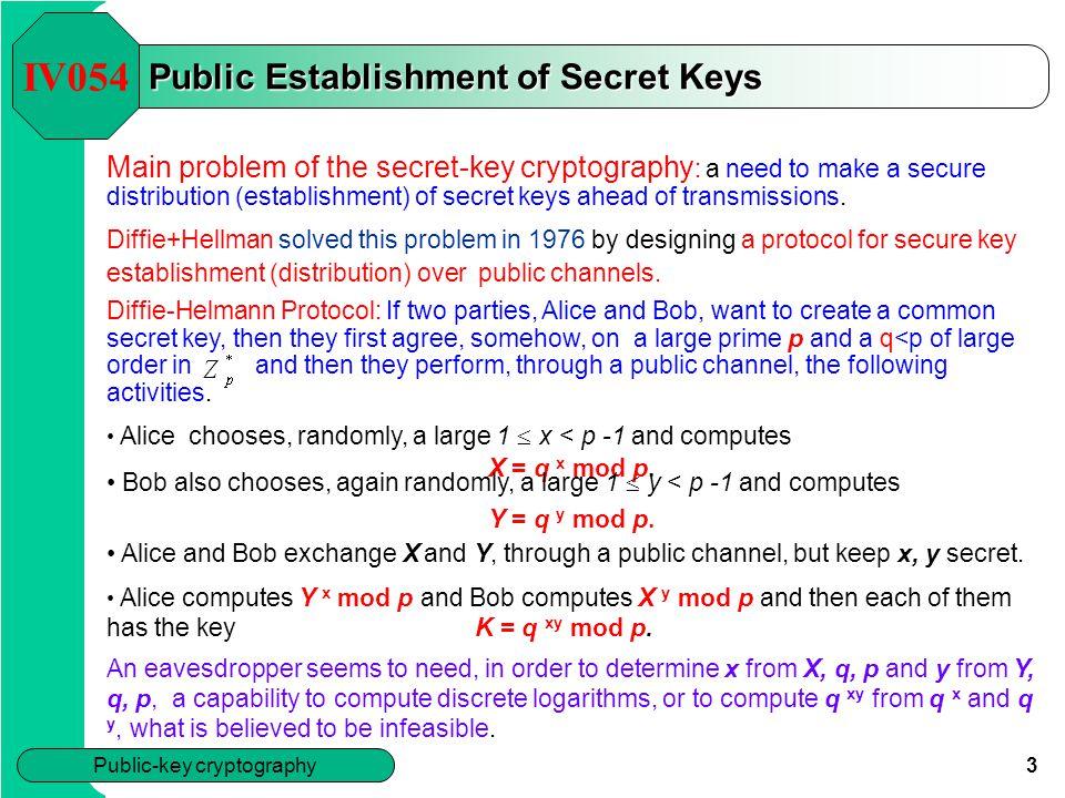 Public Establishment of Secret Keys