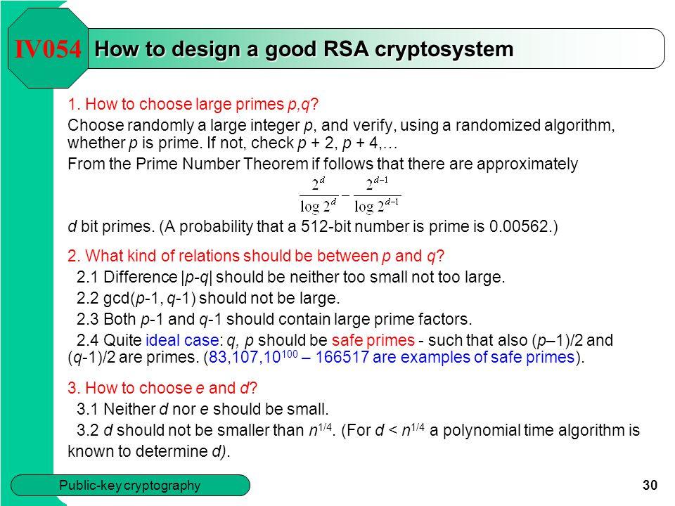 How to design a good RSA cryptosystem