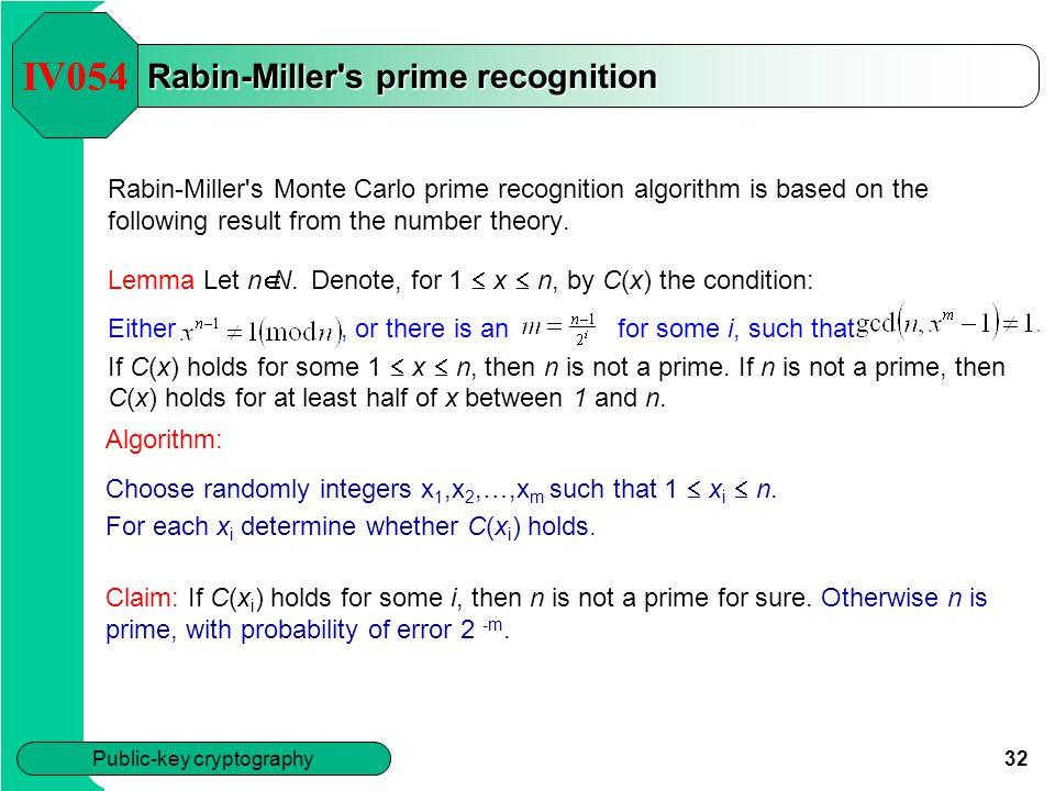 Rabin-Miller s prime recognition