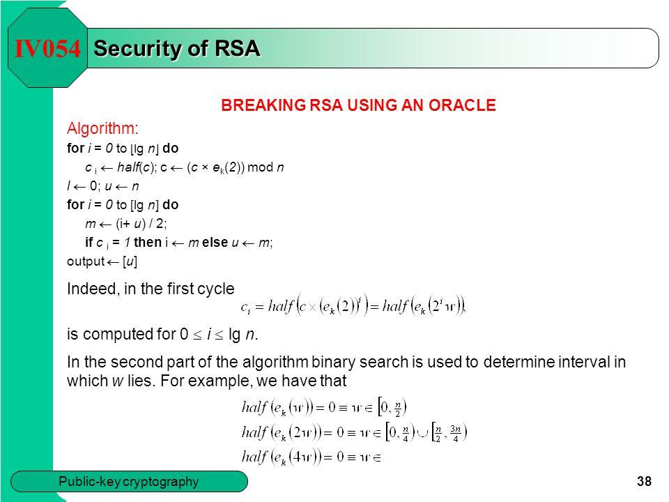 BREAKING RSA USING AN ORACLE