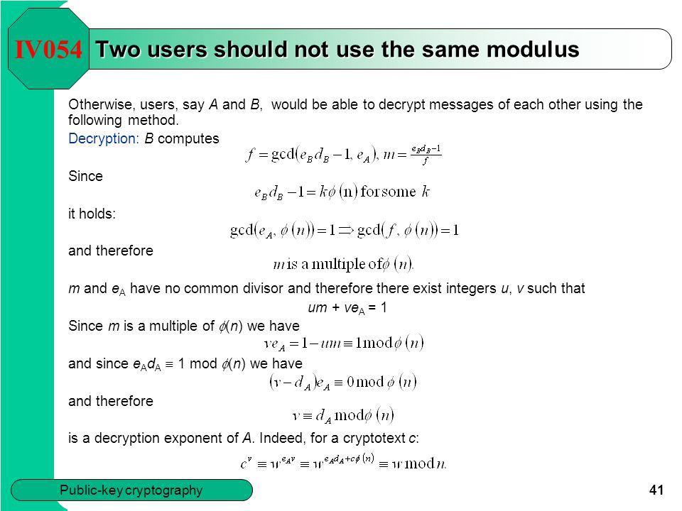 Two users should not use the same modulus