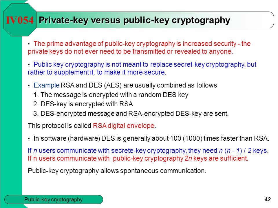 Private-key versus public-key cryptography