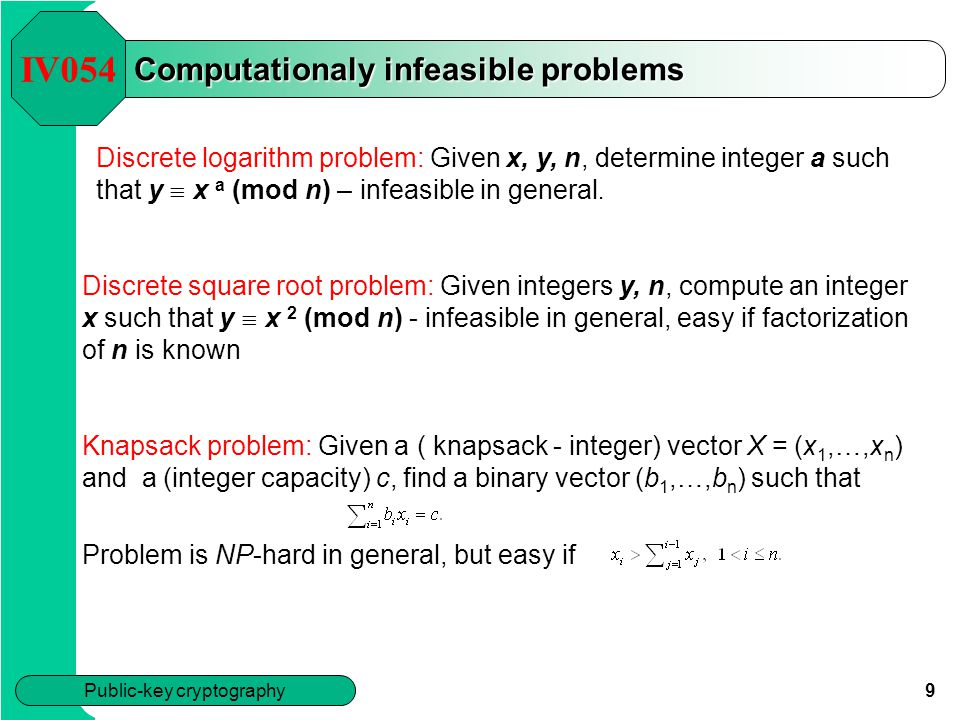Computationaly infeasible problems