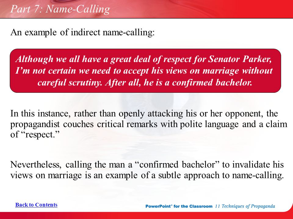 Name Calling: Part 7: Name-Calling Back To Contents.