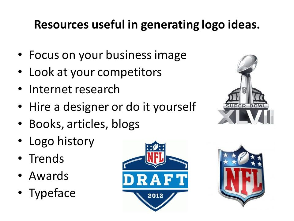Resources useful in generating logo ideas.