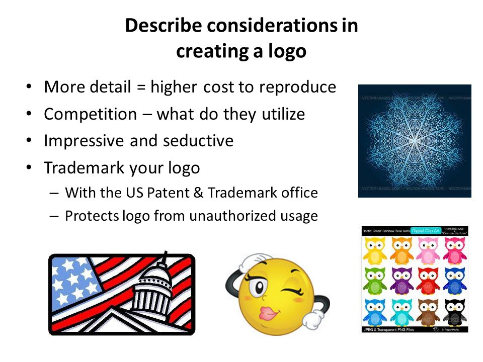 Describe considerations in creating a logo