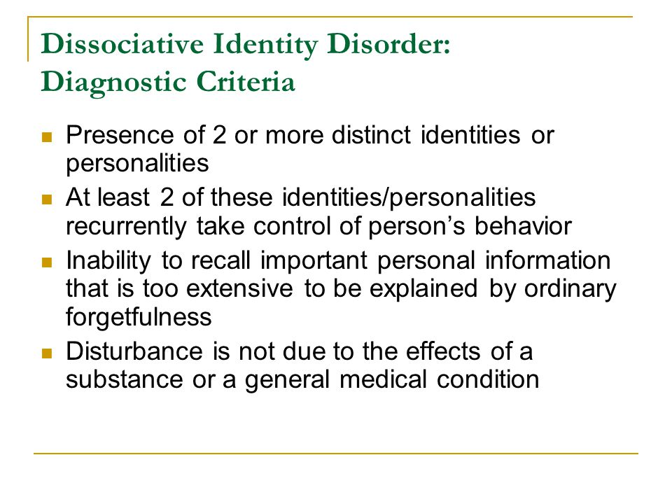 mental illness dissociative identity disorder essay Introduction to dissociative disorders  mark dombeck, phd  not all of whom have a mental disorder very mild forms of dissociation are quite common, and are probably behind the.