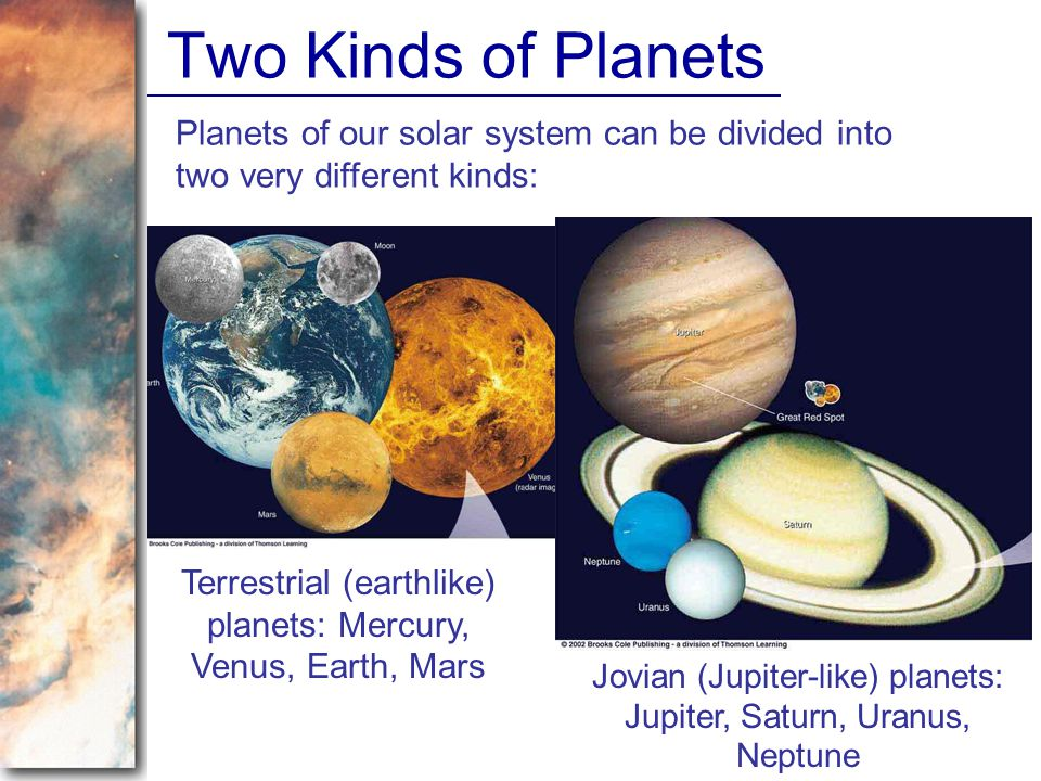 Two Kinds of Planets Planets of our solar system can be divided into two very different kinds: