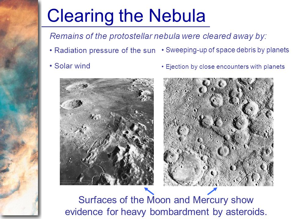 Clearing the Nebula Remains of the protostellar nebula were cleared away by: Radiation pressure of the sun.