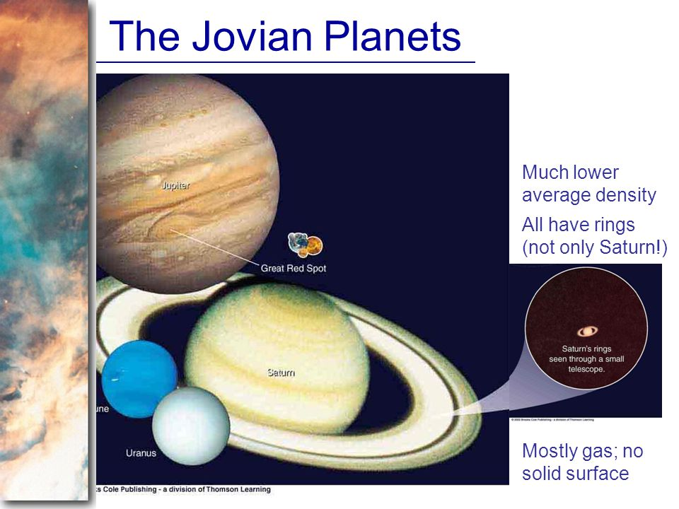 The Jovian Planets Much lower average density