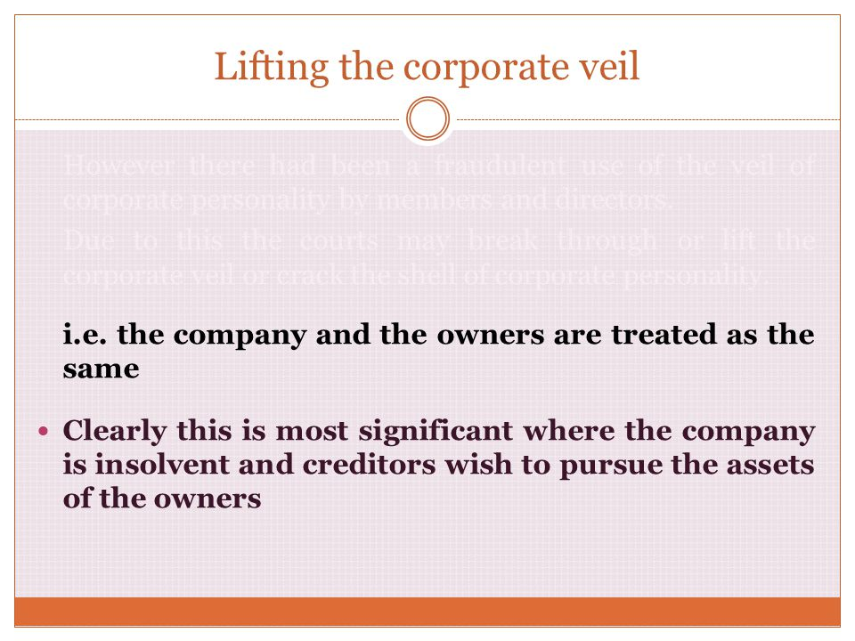 Lifting the corporate veil