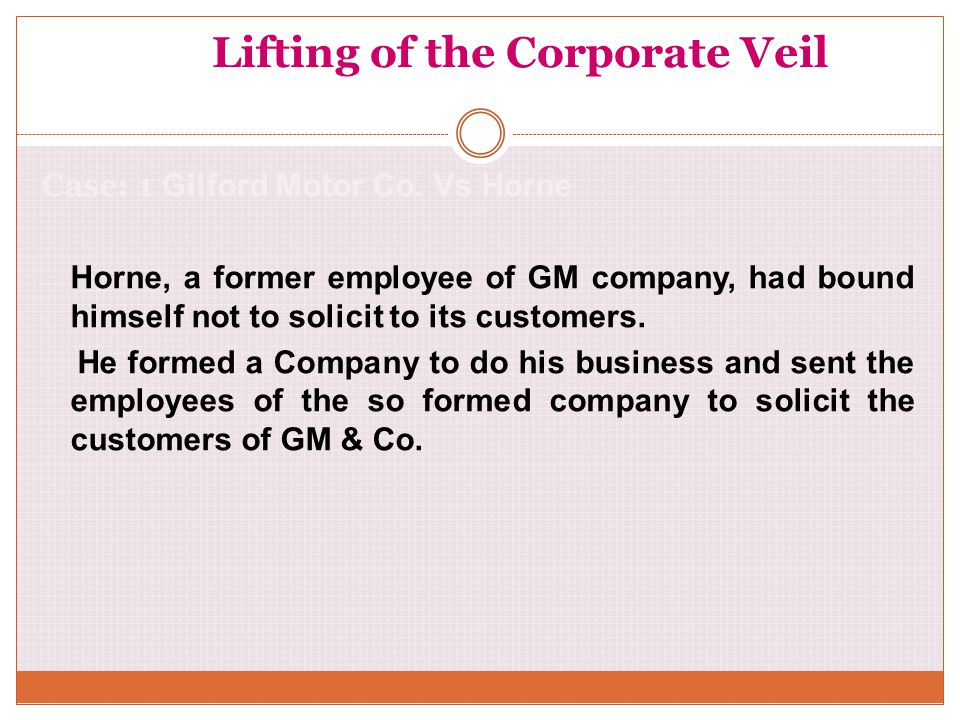 Lifting of the Corporate Veil