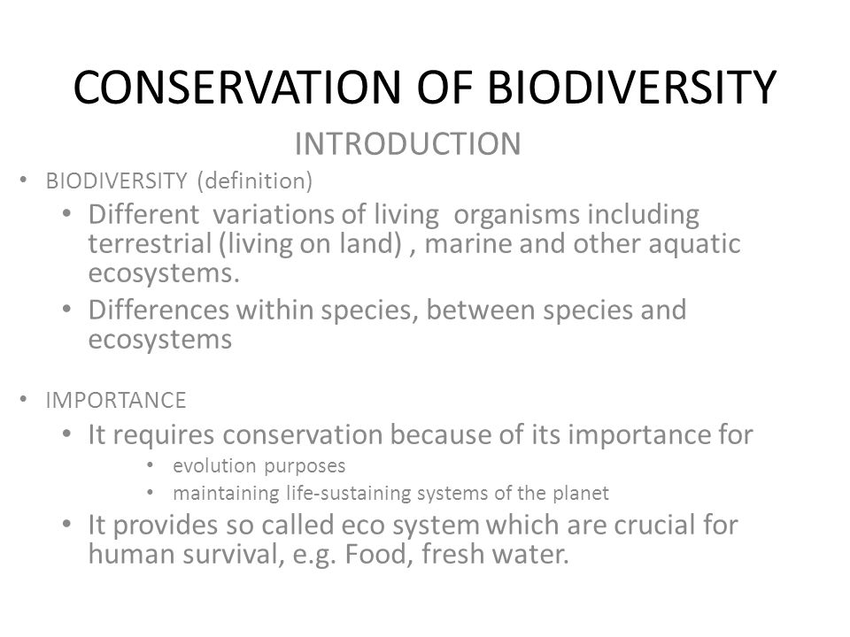 conservation of biodiversity Biodiversity and conservation is an international journal that publishes articles  on all aspects of biological diversity-its description, analysis and conservation,.