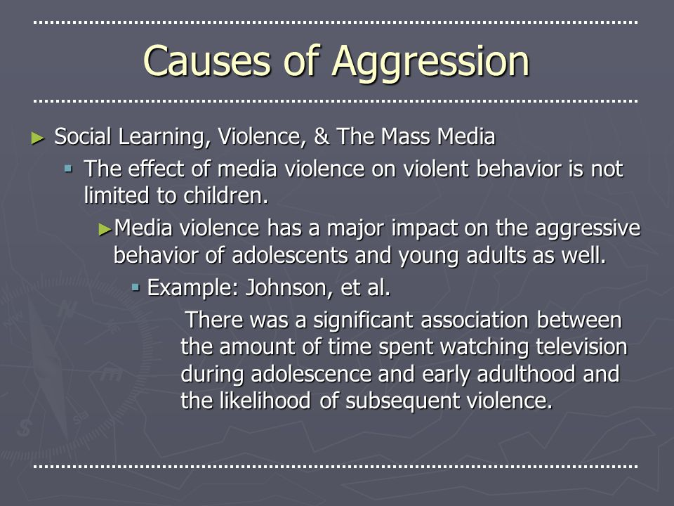 how social learning and aggression affects Aggression 1  his findings supported his social learning theory in which we learn from others examples and direct experiencescontrol group watched a non .