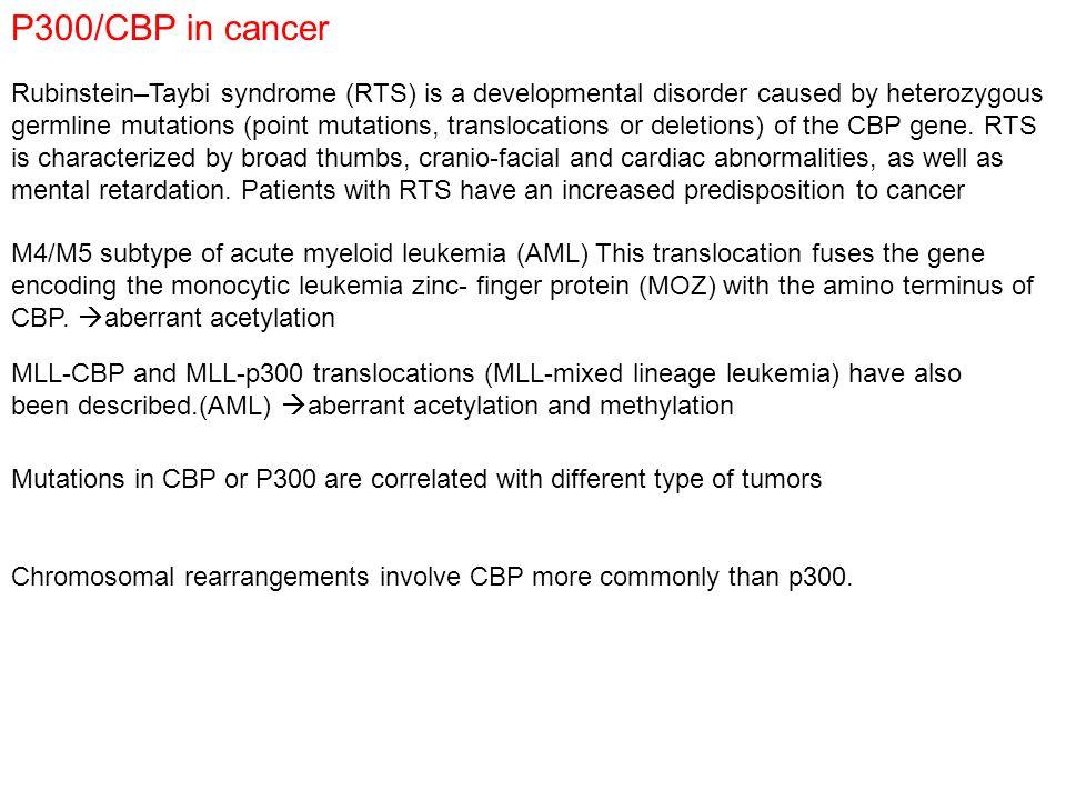 P300/CBP in cancer