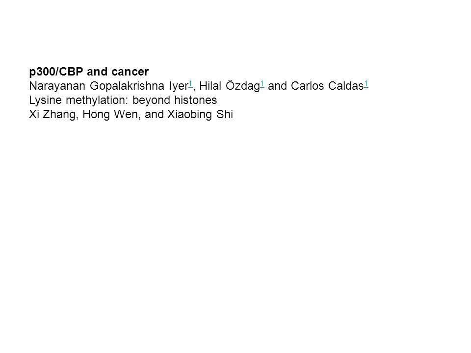 p300/CBP and cancer Narayanan Gopalakrishna Iyer1, Hilal Özdag1 and Carlos Caldas1. Lysine methylation: beyond histones.