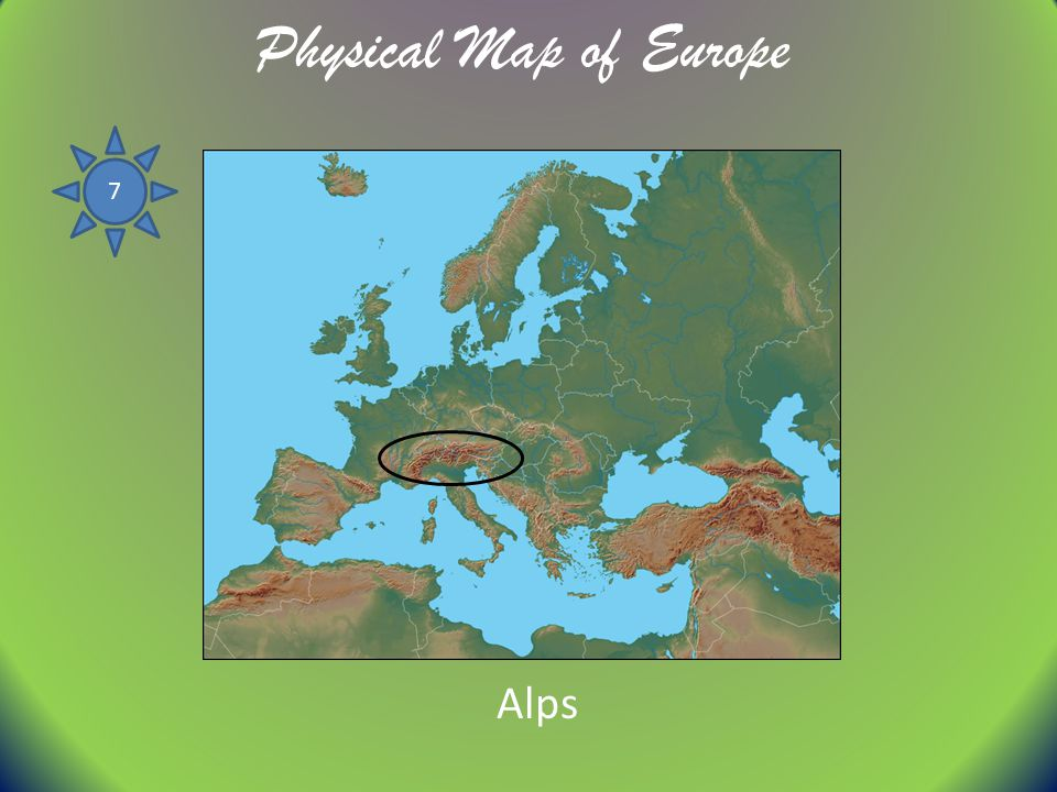 Physical Map of Europe 7 Alps
