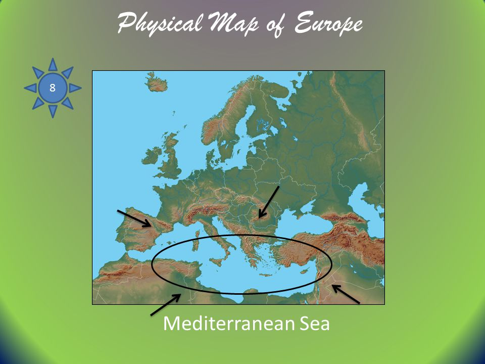 Physical Map of Europe 8 Mediterranean Sea