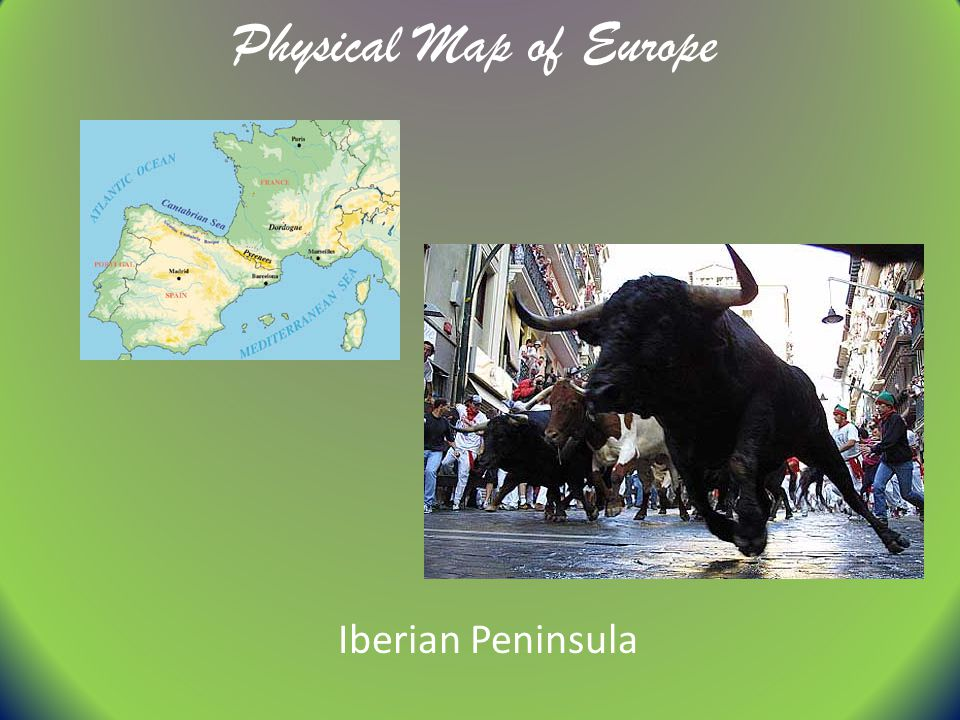 Physical Map of Europe Iberian Peninsula