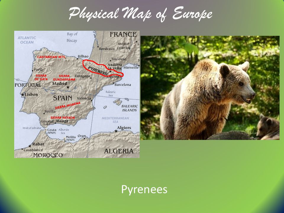 Physical Map of Europe Pyrenees