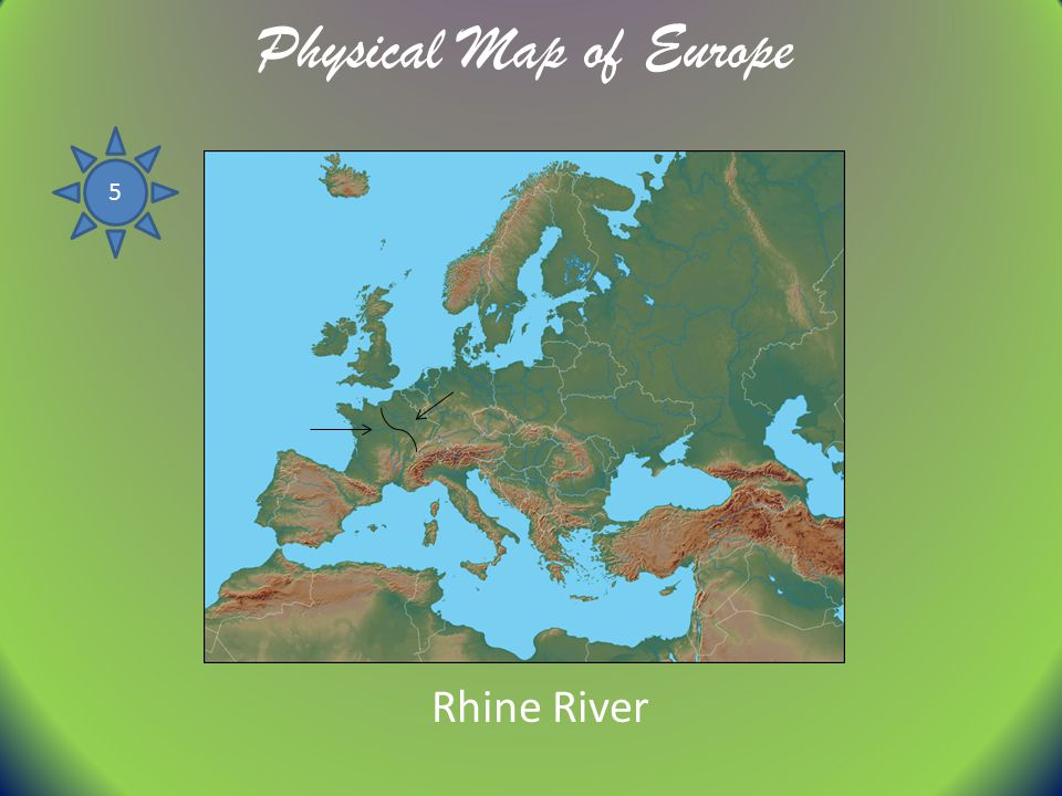 Physical Map of Europe 5 Rhine River