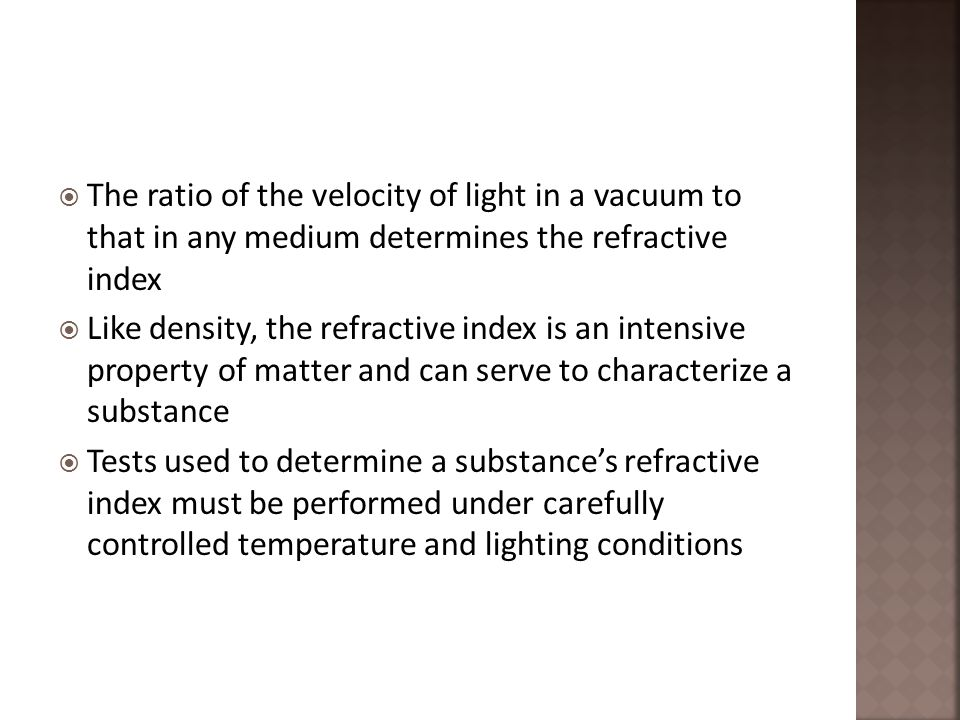 refractive index and concentration relationship quizzes