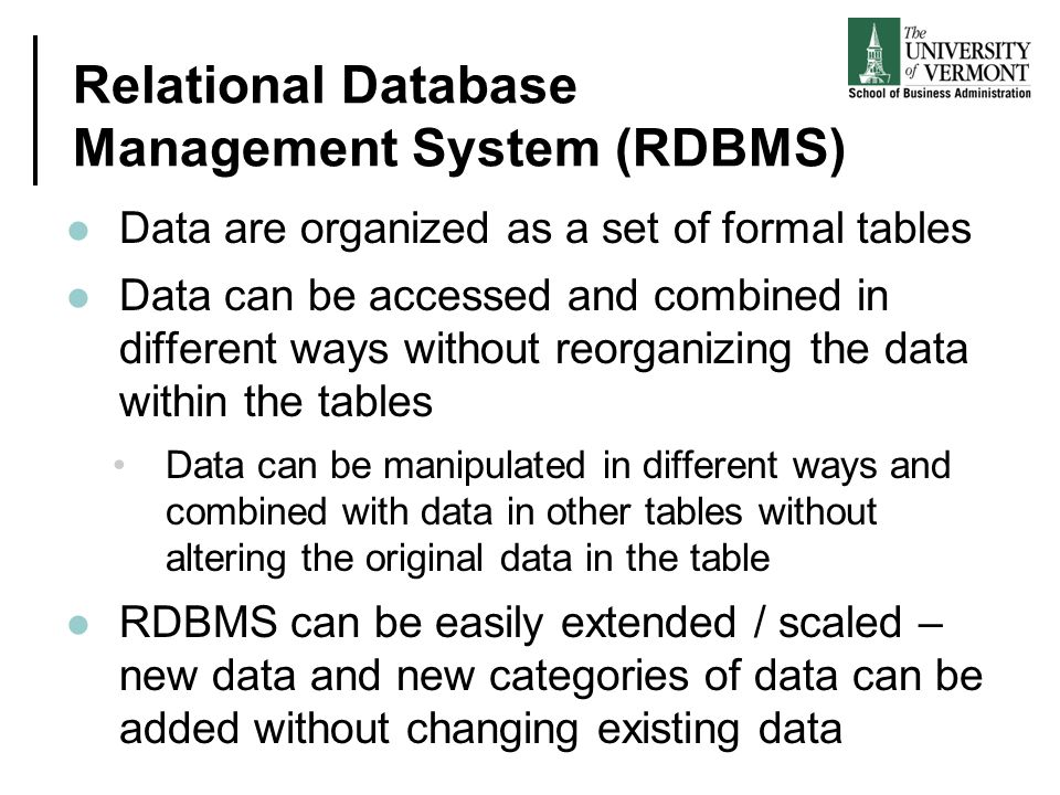 Relational Database Management System (RDBMS)