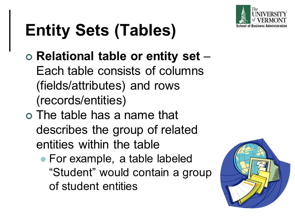 Entity Sets (Tables) Relational table or entity set – Each table consists of columns (fields/attributes) and rows (records/entities)