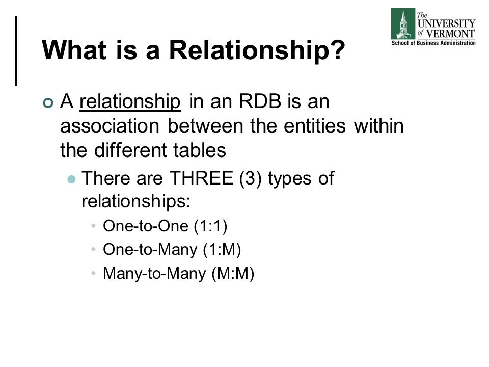 What is a Relationship A relationship in an RDB is an association between the entities within the different tables.