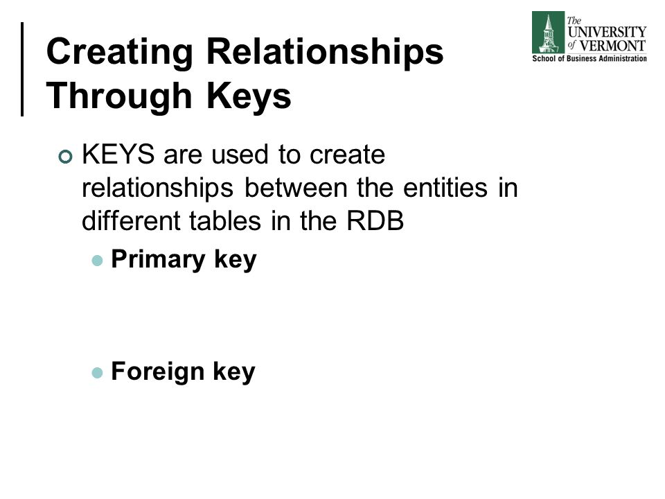Creating Relationships Through Keys