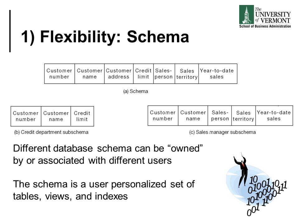 1) Flexibility: Schema Different database schema can be owned by or associated with different users.